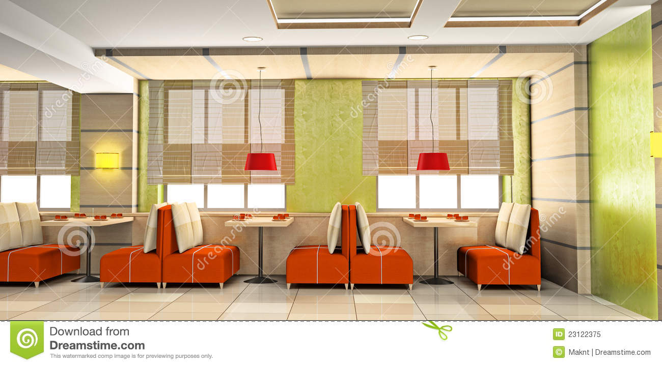 Cafe Interior 3D Stock Illustration Image Of Plate