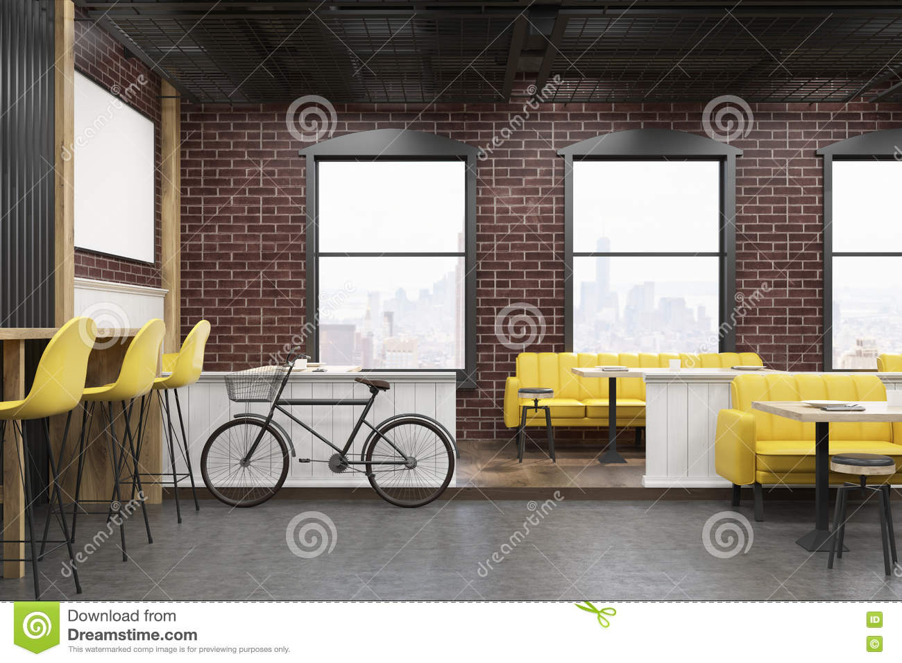cafe interior with brick walls and a bicycle stock illustration