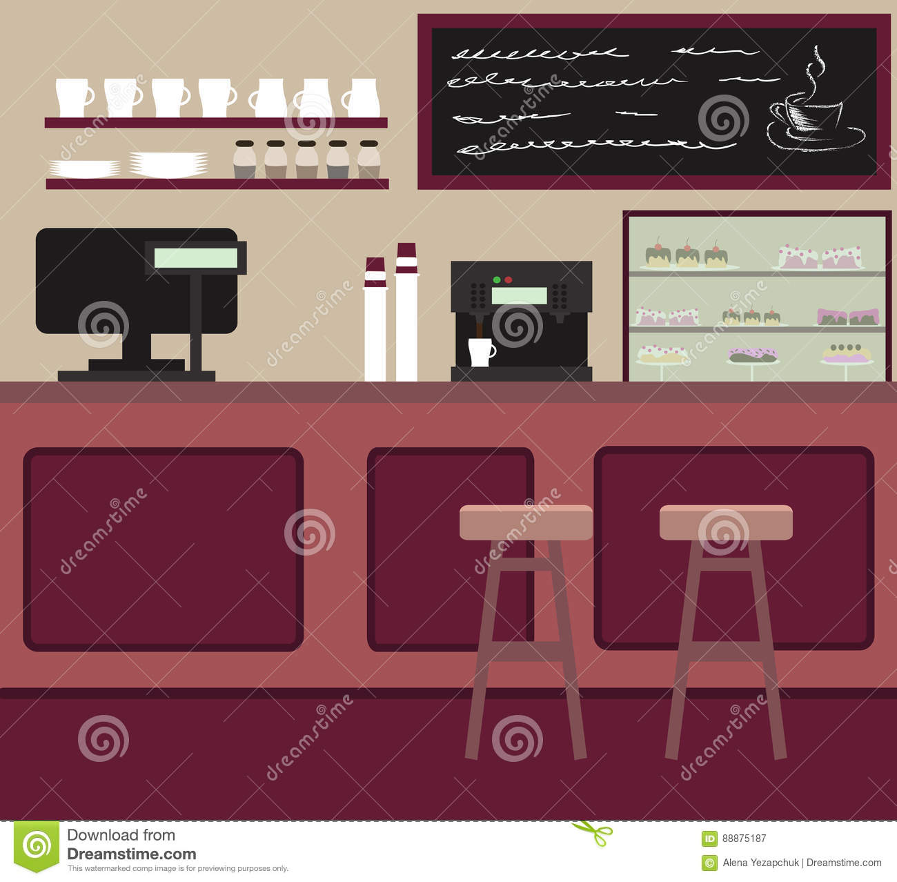 the cafe interior design. coffee shop with counter bar. stock