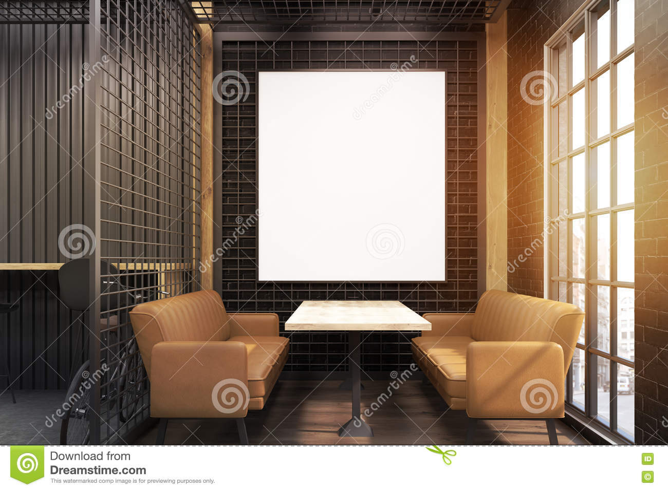 cafe interior with grate and beige sofas, toned stock photo