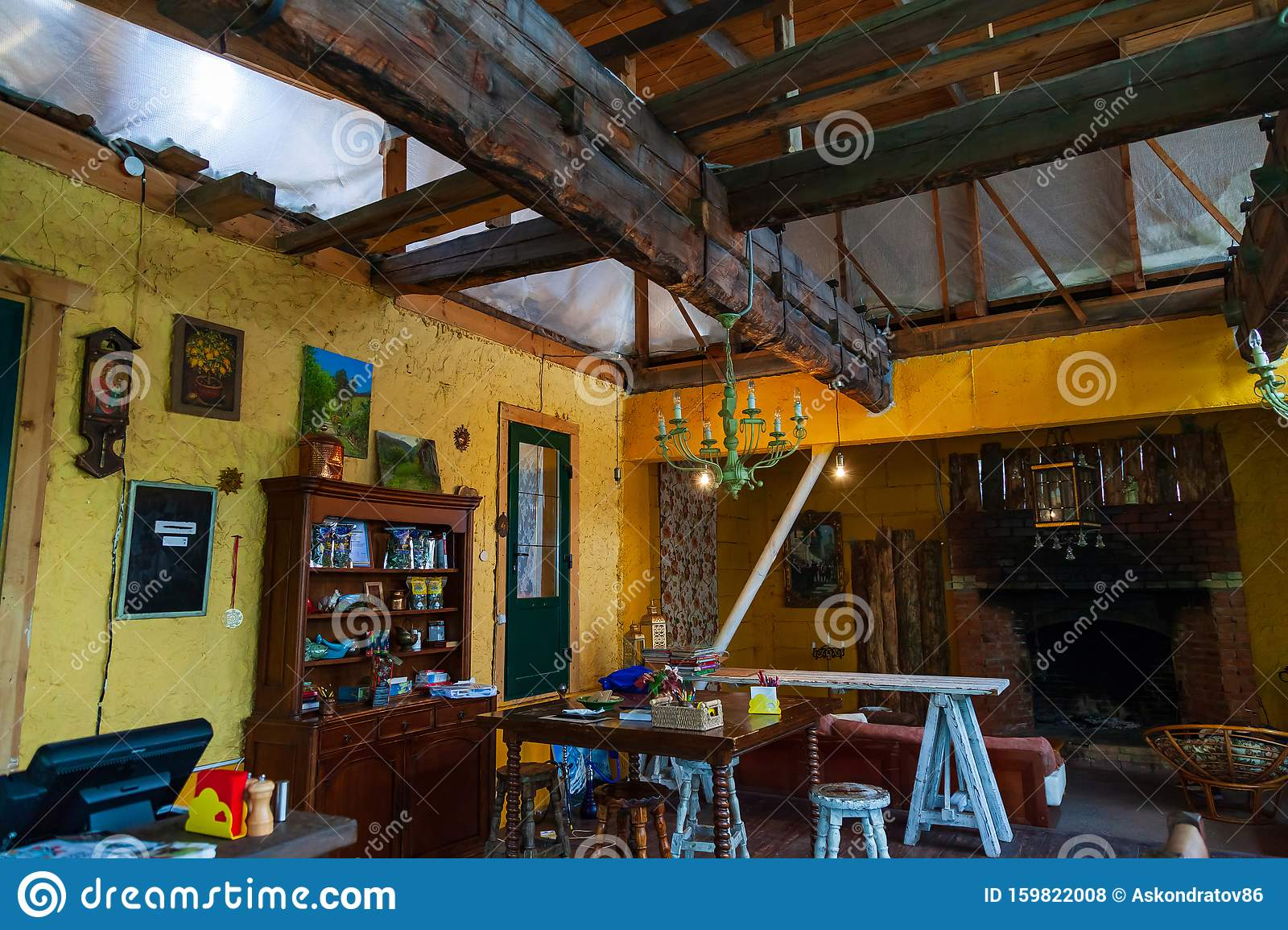 Cafe Interior In Retro Vintage Style With Colored Old Things Wooden Table And Chairs And Roof Interior Design Editorial Stock Photo Image Of Decoration Architecture 159822008