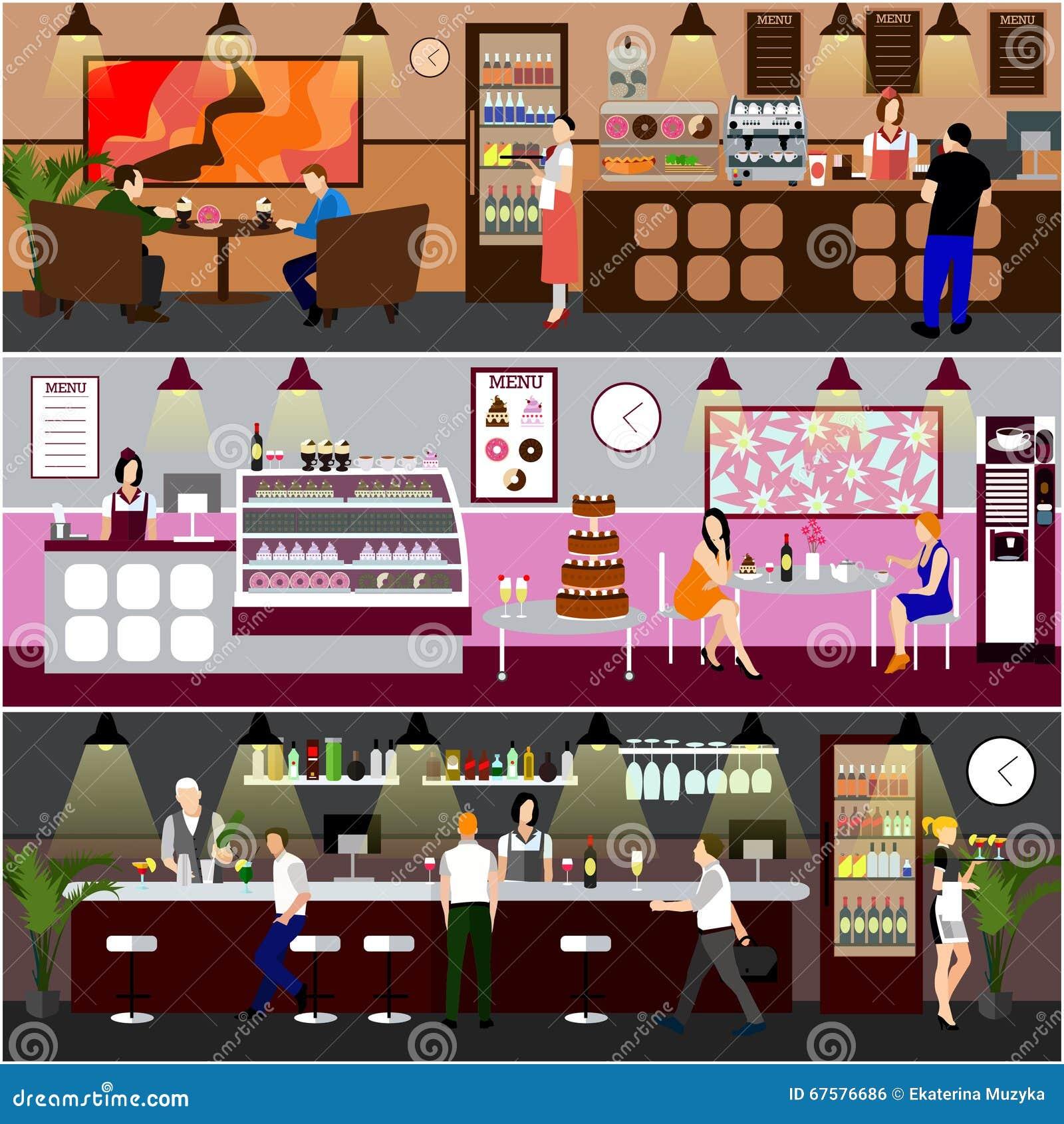 Cafe Interior Vector Illustration Design Of Coffee Shop