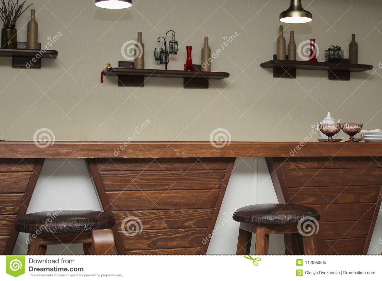 Cafe Interior With Wooden Bar Counter And Chairs Stock Image Image Of Morning Bowl 112996805