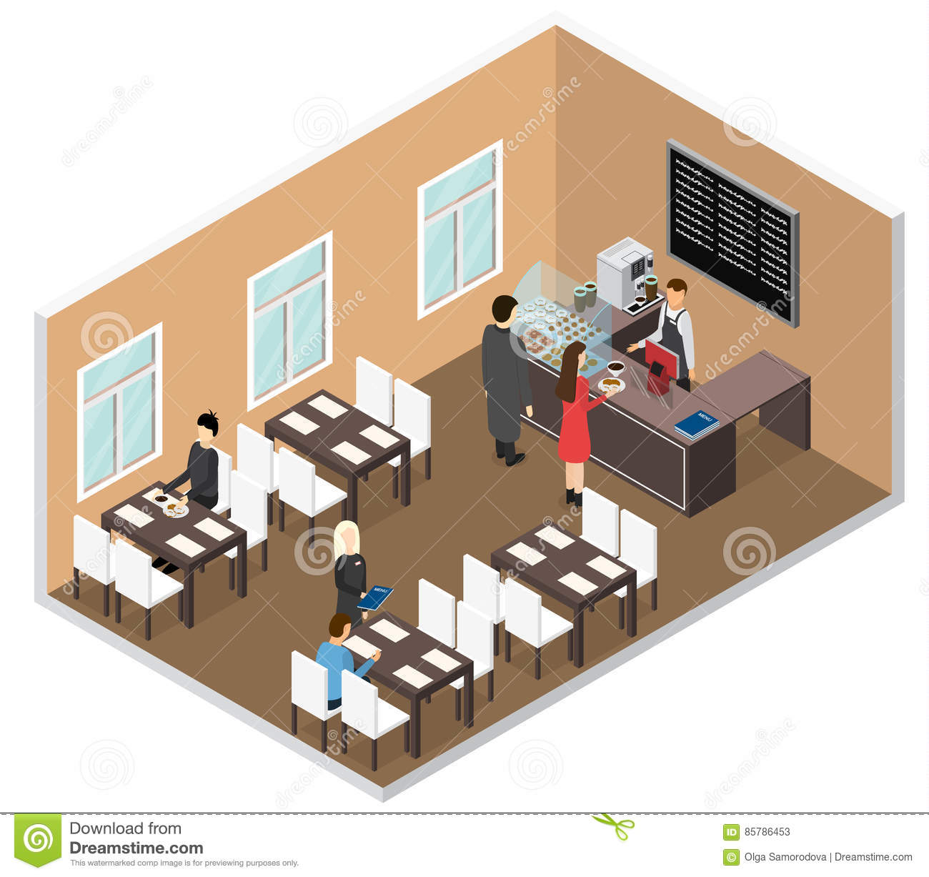 Cafe isometric view vector stock vector image 85786453 for Shop einrichtung