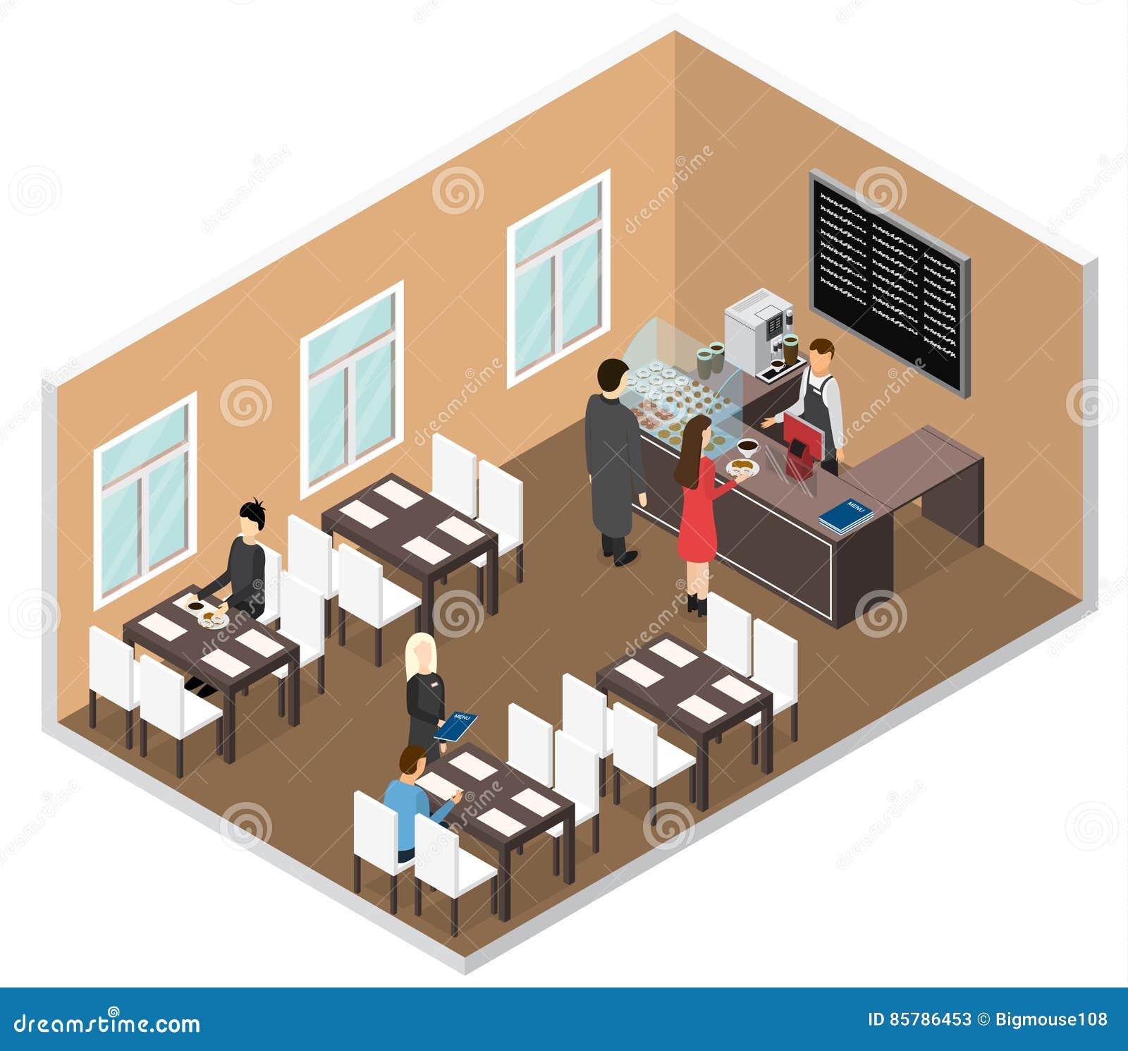 3d Floor Plan Isometric: Cafe Isometric View. Vector Stock Vector