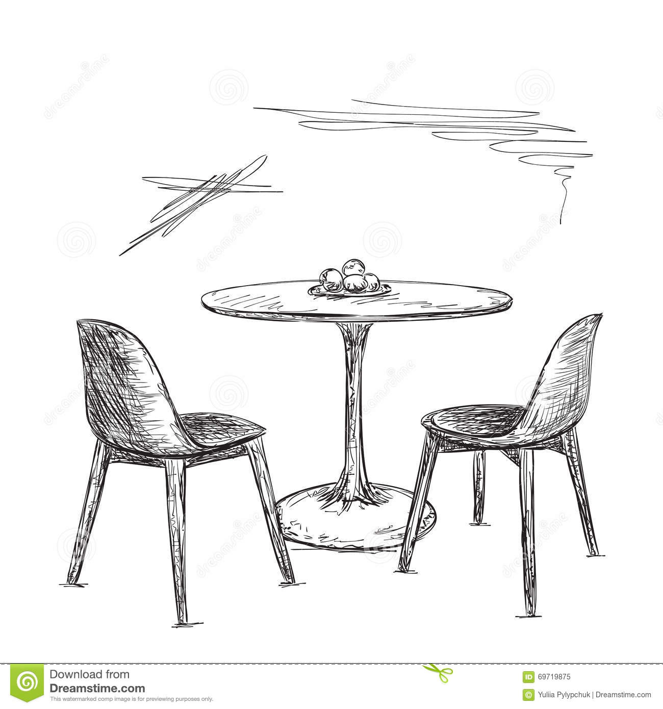 Cafe Or Kitchen Interior. Table And Chair Sketch Stock