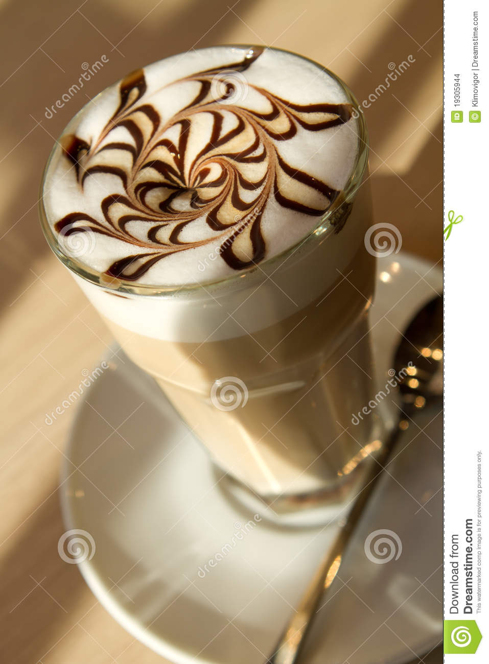 Cafe Latte Stock Photo Image Of Chocolate Sugar Table