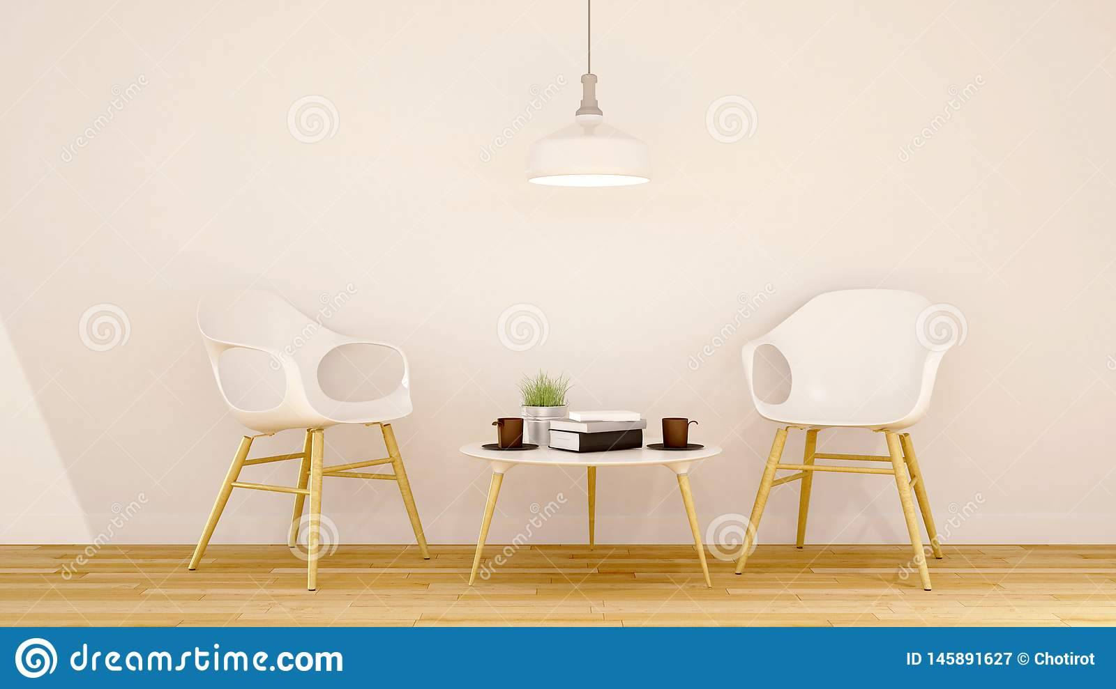 Cafe or Library area clean design - 3D Rendering