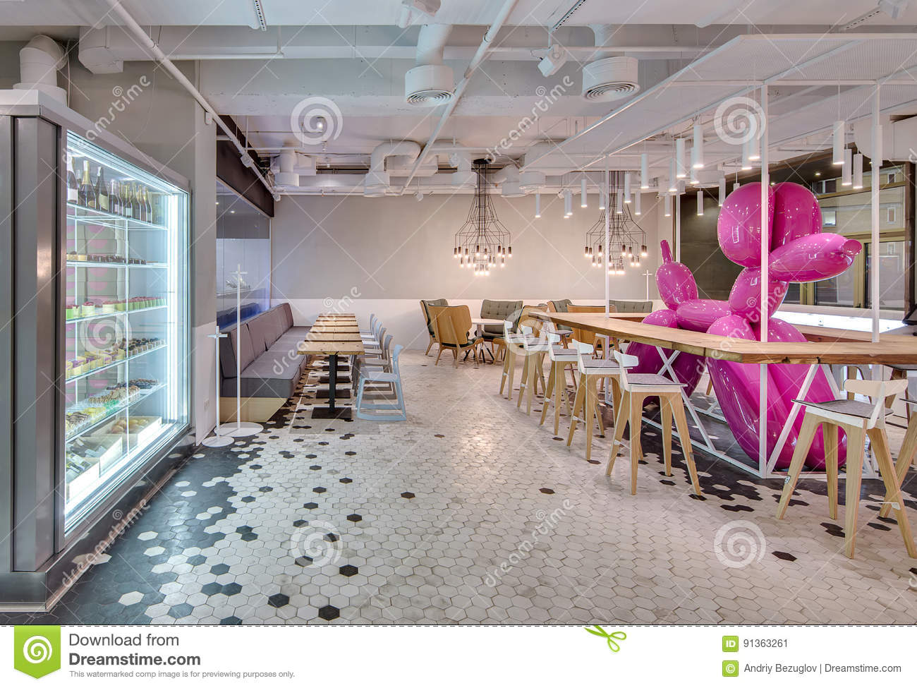cafe in loft style stock photo - image: 91363261
