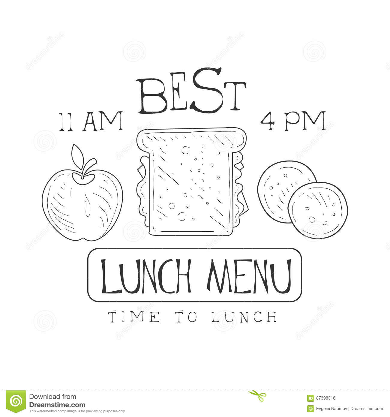 cafe lunch menu promo sign in sketch style with sandwich apple and
