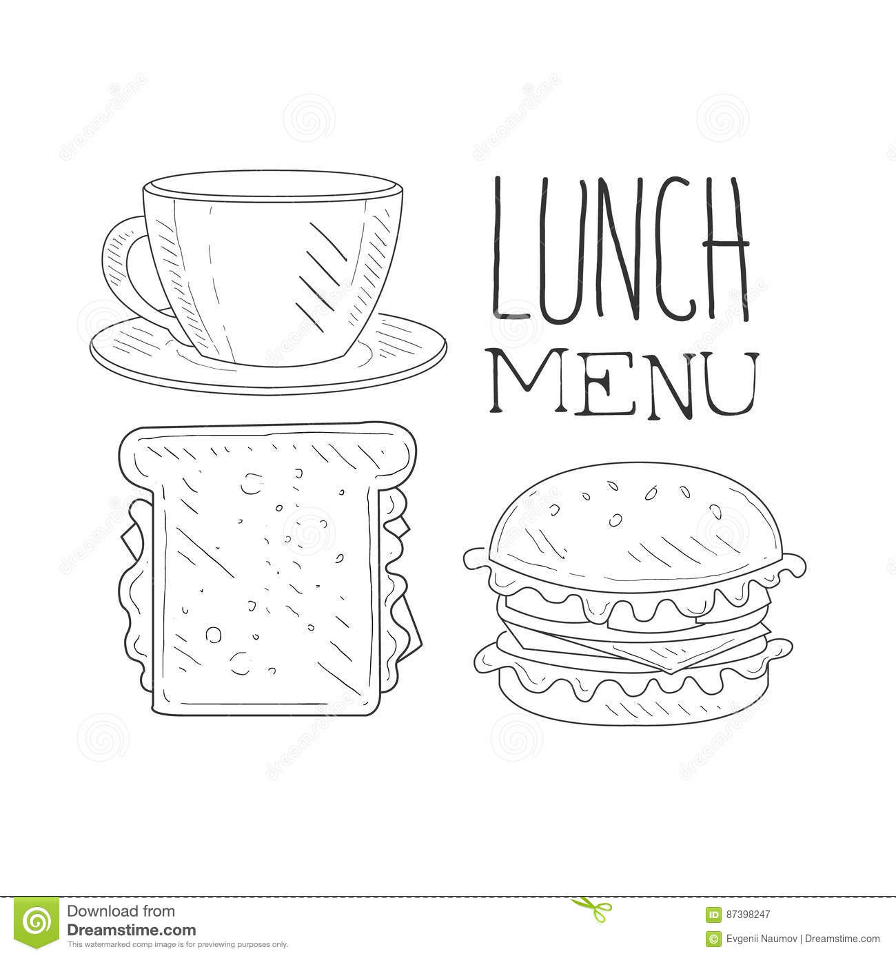 Cafe Lunch Menu Promo Sign In Sketch Style With Sandwich, Burger And ...
