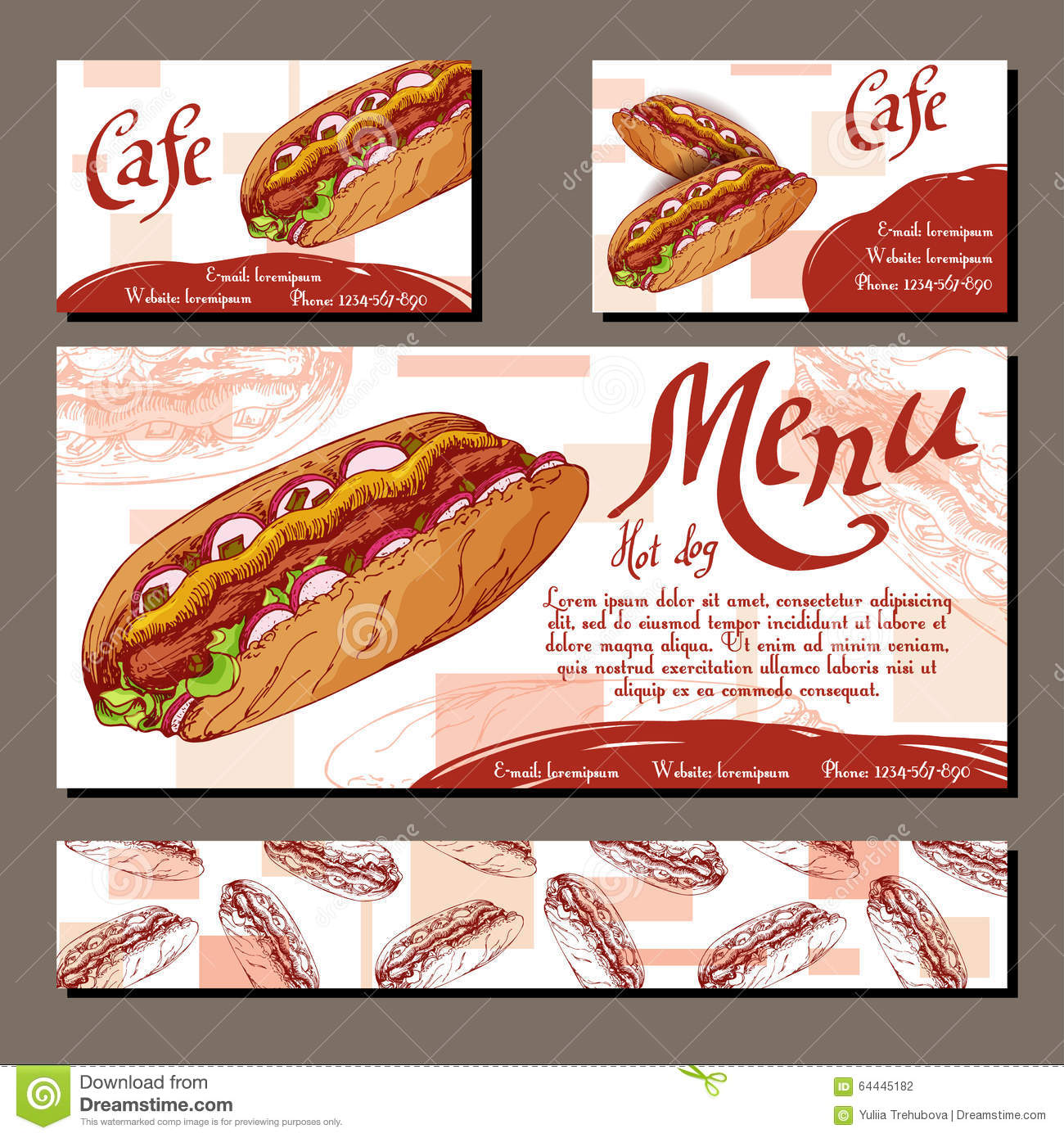 cafe menu with hand drawn design fast food restaurant. Black Bedroom Furniture Sets. Home Design Ideas