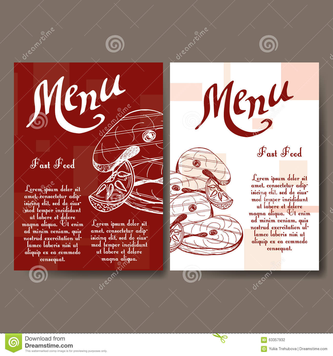 Cafe menu with hand drawn design fast food restaurant menu template cafe menu with hand drawn design fast food restaurant menu template set of cards wajeb Images
