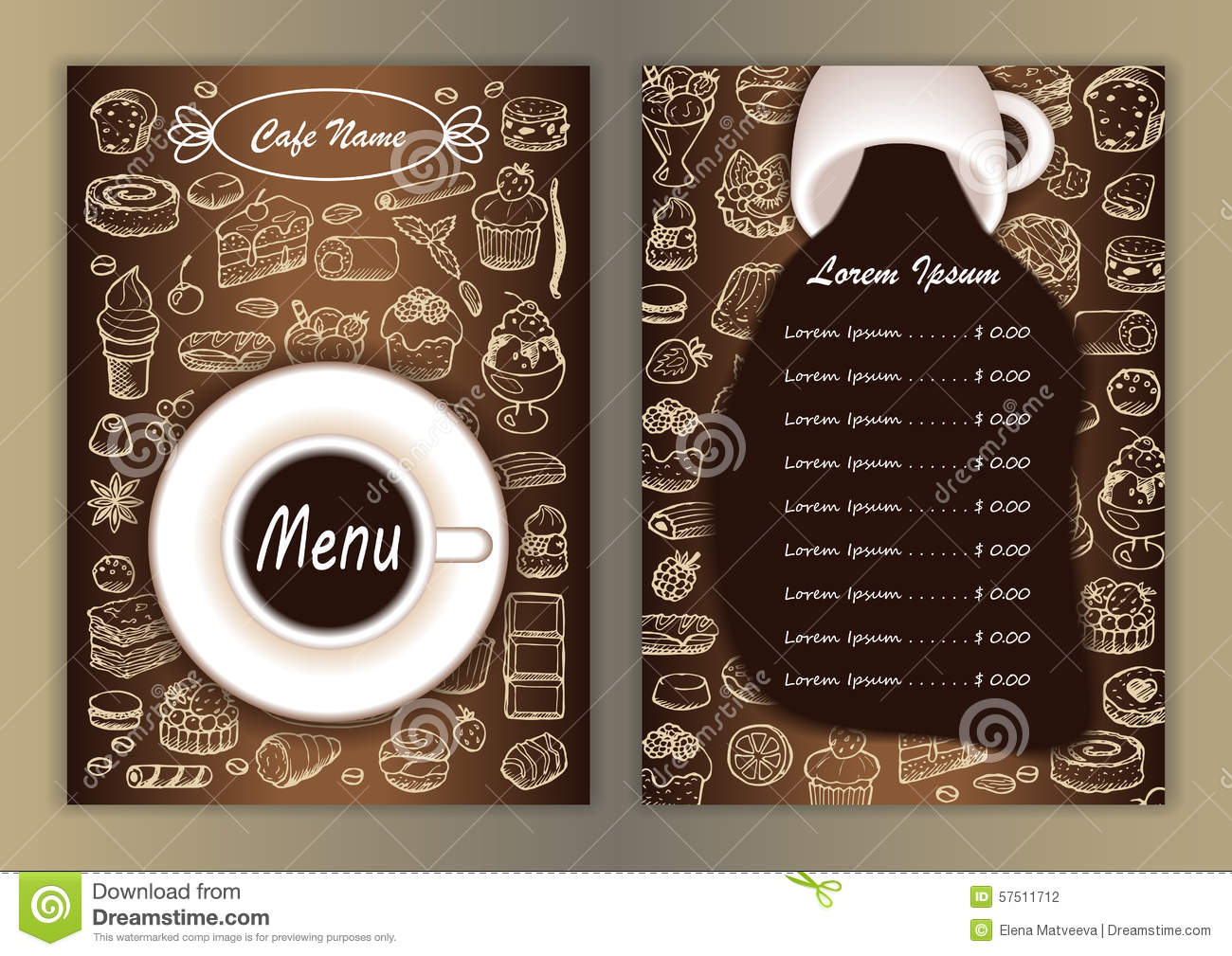 Cafe Menu With Hand Drawn Doodle Elements Stock Vector