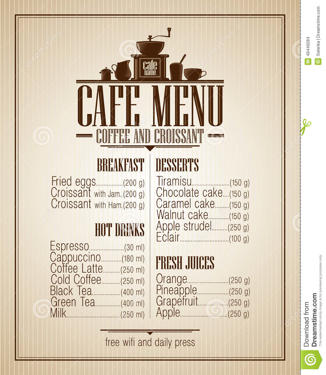 Cafe Menu List With Dishes Name, Retro Design. Stock Vector ...