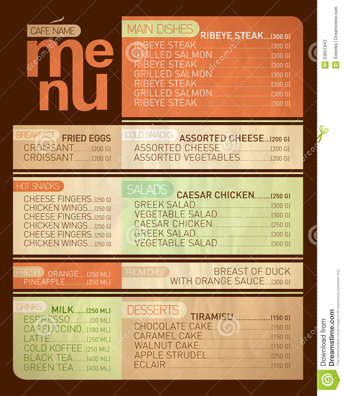 Cafe Menu List. Stock Vector - Image: 53651943