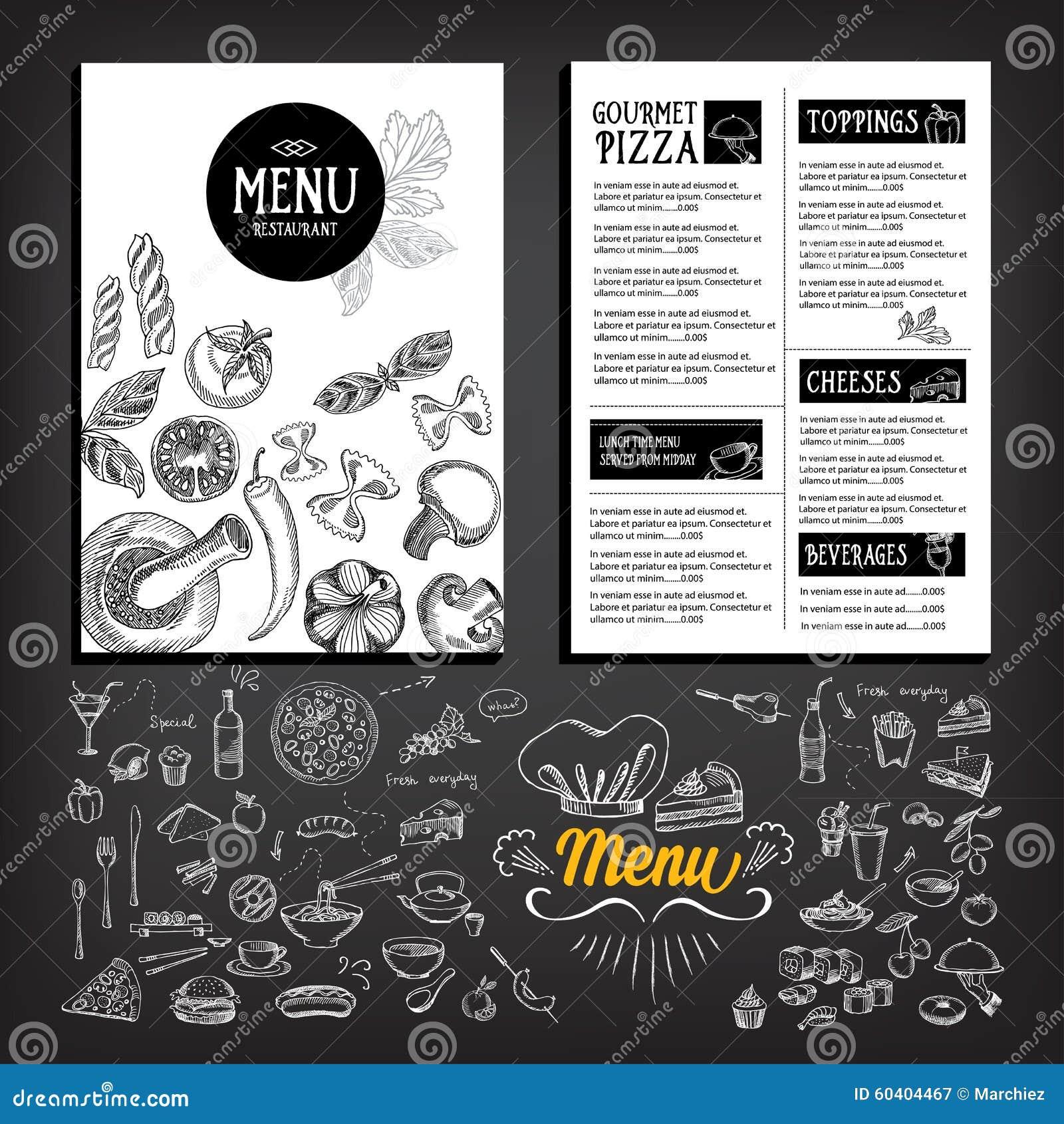 Cafe Menu Restaurant Brochure. Food Design Template Stock