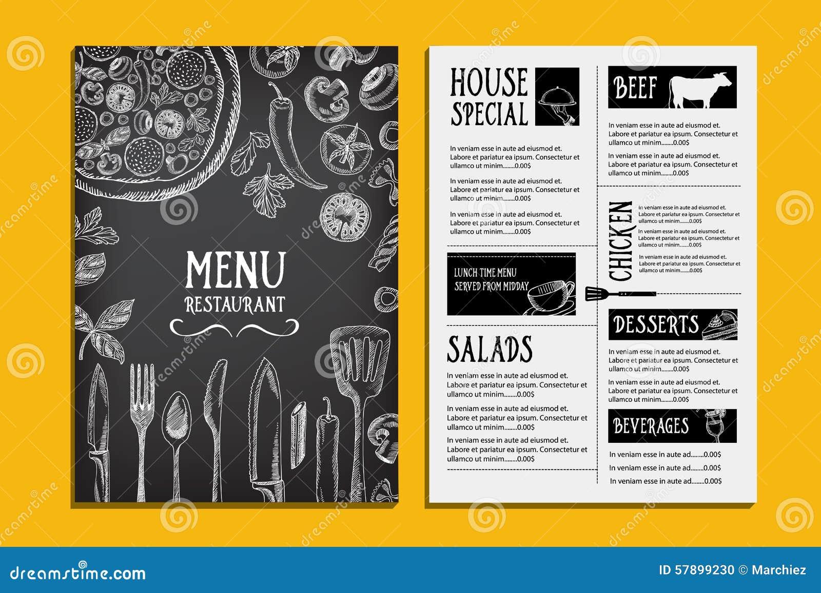 cafe menu restaurant brochure food design template stock vector