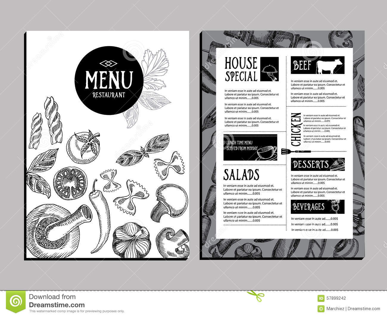 Restaurant Brochure Design Vector : Cafe menu restaurant brochure food design template stock