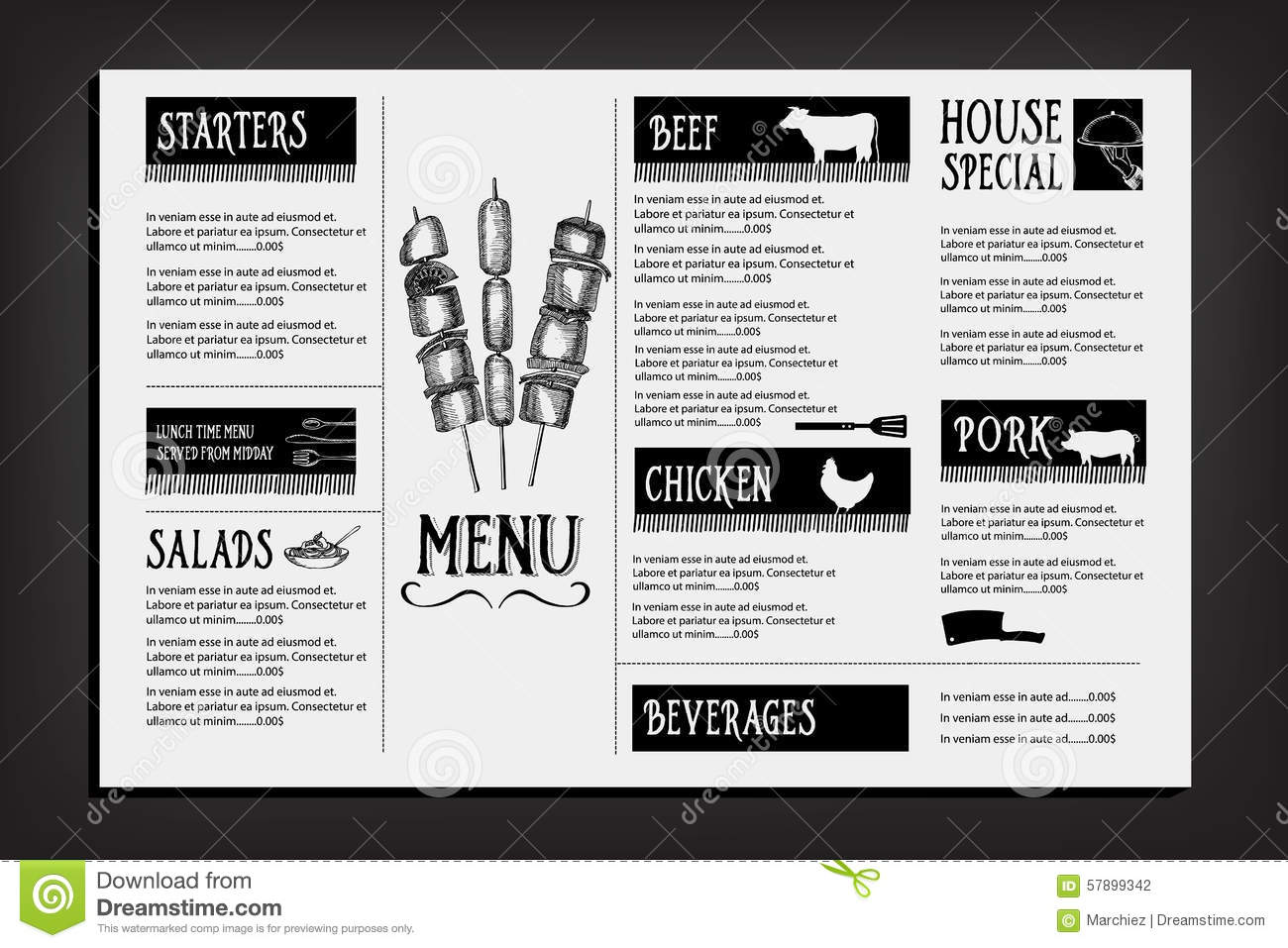 Cafe menu restaurant brochure food design template stock