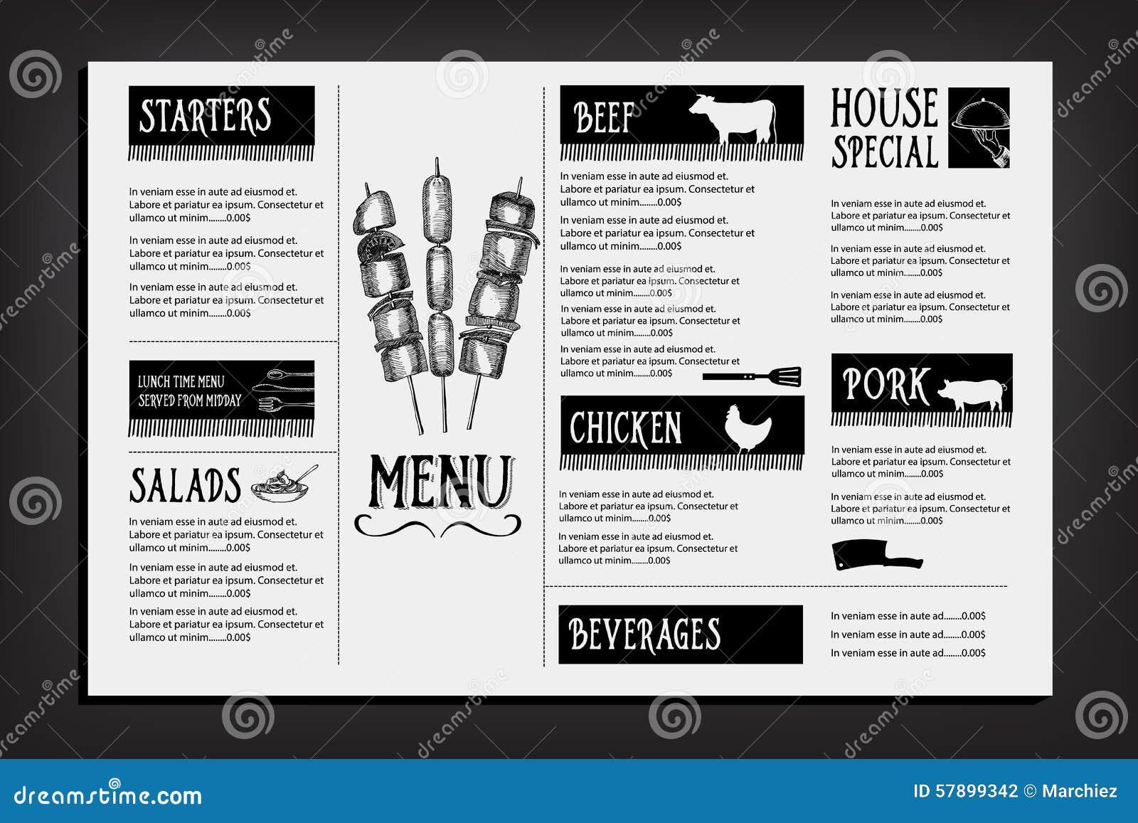 Cafe menu restaurant brochure food design template stock