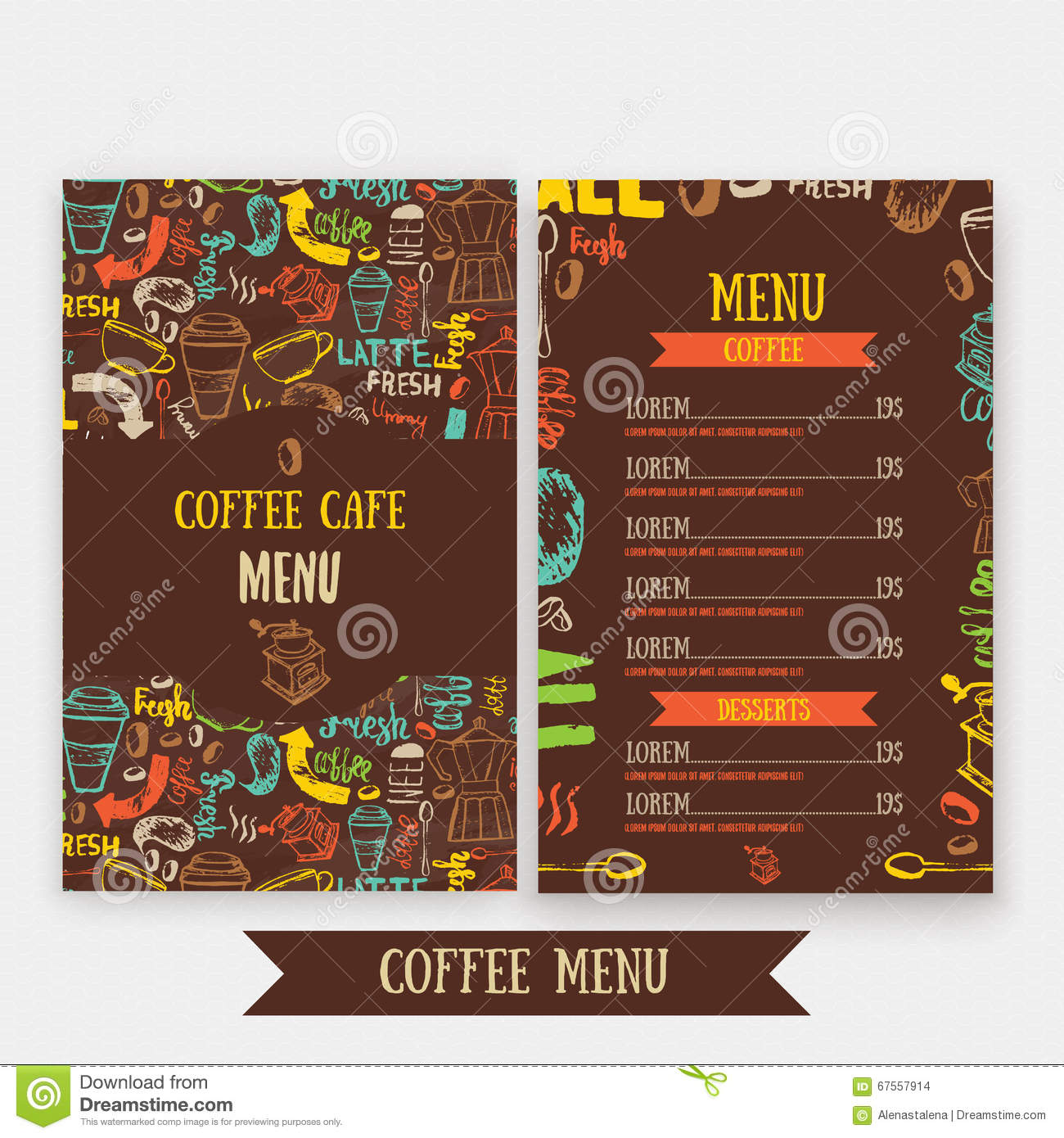 Cafe Menu Template Design With Lettering For Coffee Shop
