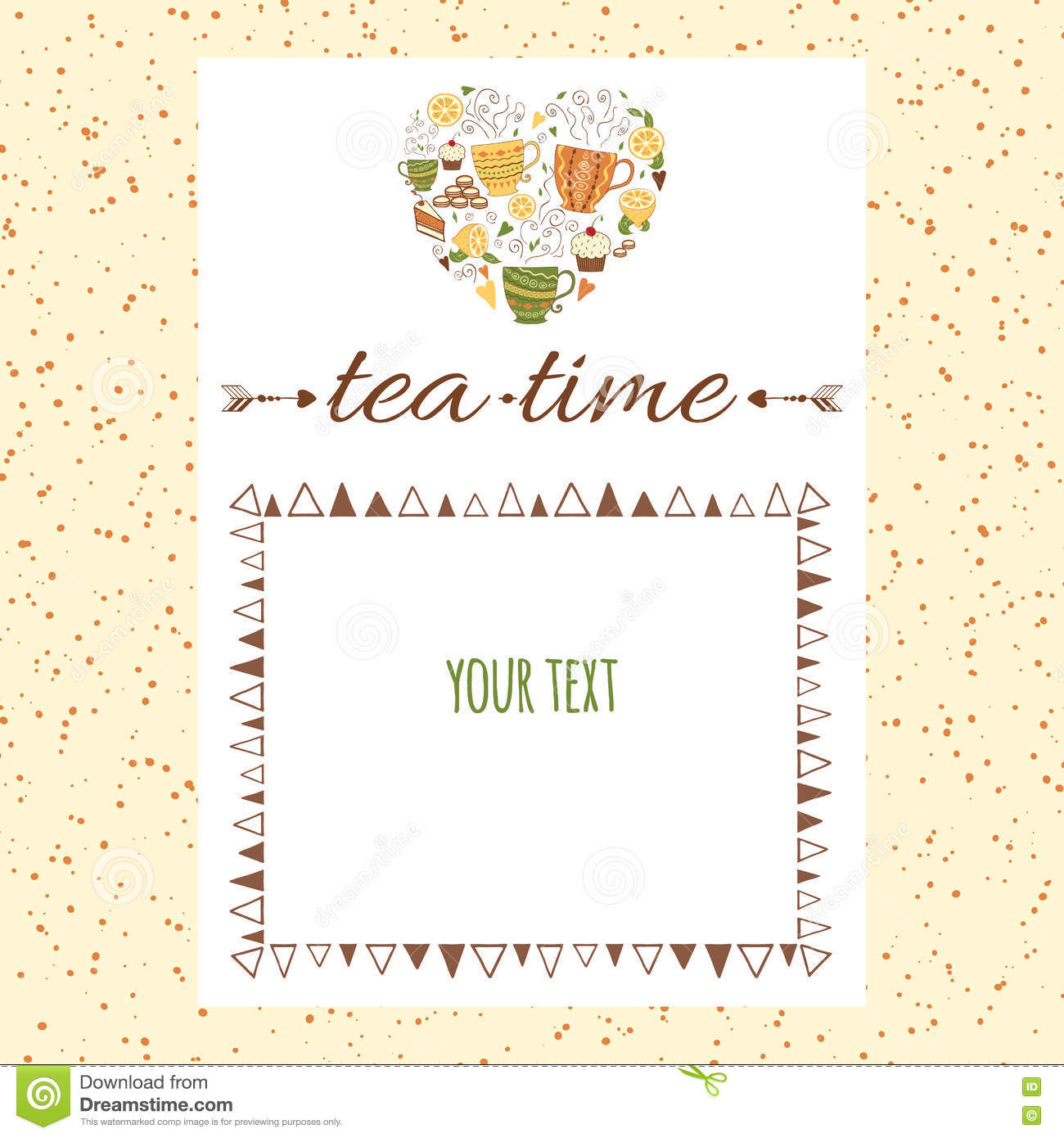 Cafe menu template design with shape of heart and tea for Tea party menu template