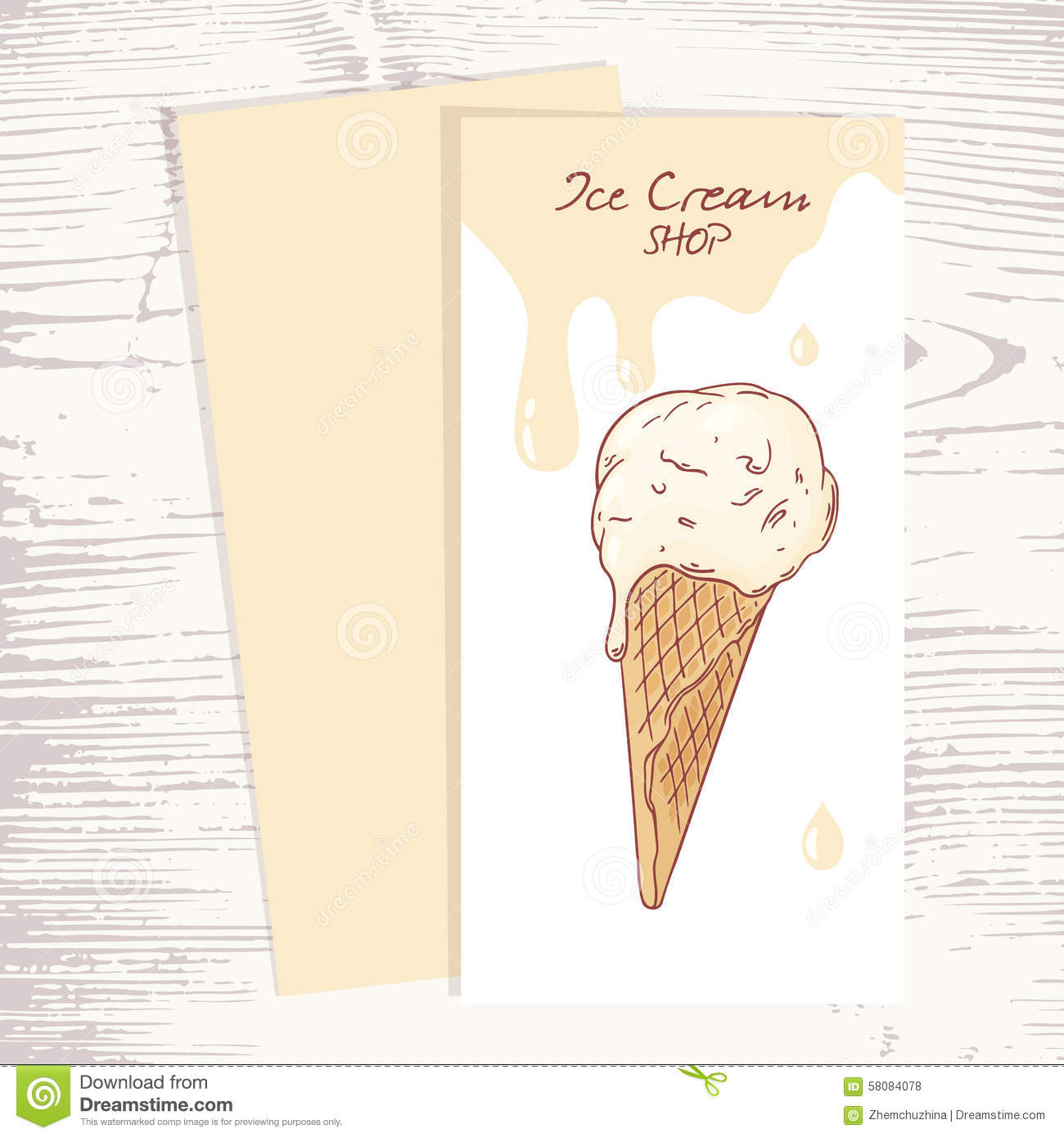 Cafe menu template with hand drawn ice cream in a illustration cafe menu template with hand drawn ice cream in a maxwellsz