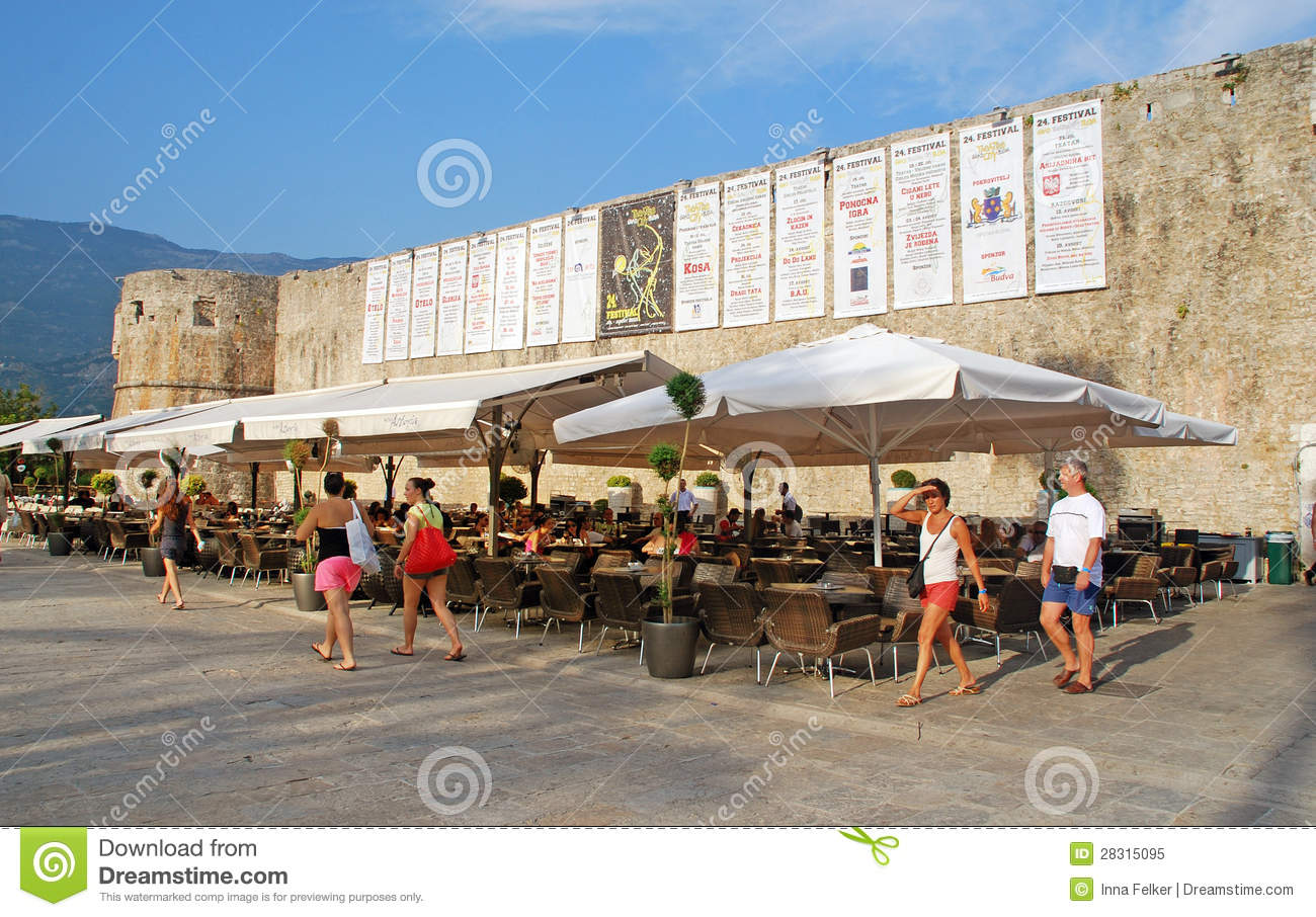 Cafe Near Old Town Walls, Budva, Montenegro Editorial ...