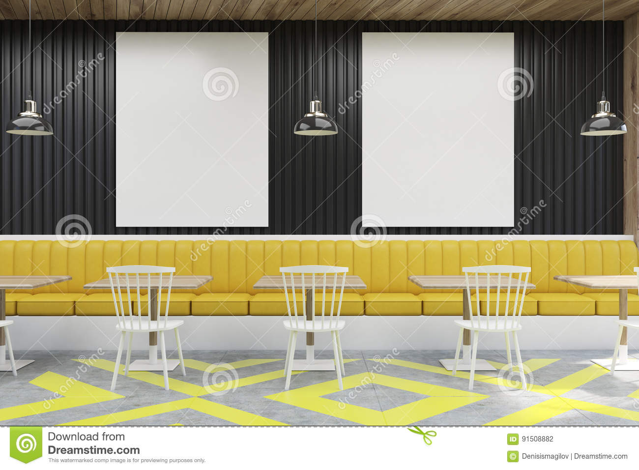 cafe with posters, black and yellow stock illustration - image