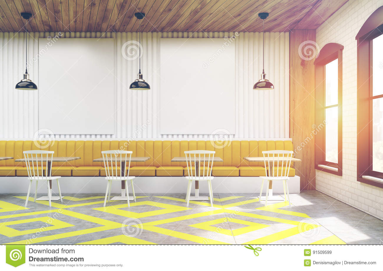 cafe with posters, white and yellow, toned stock illustration