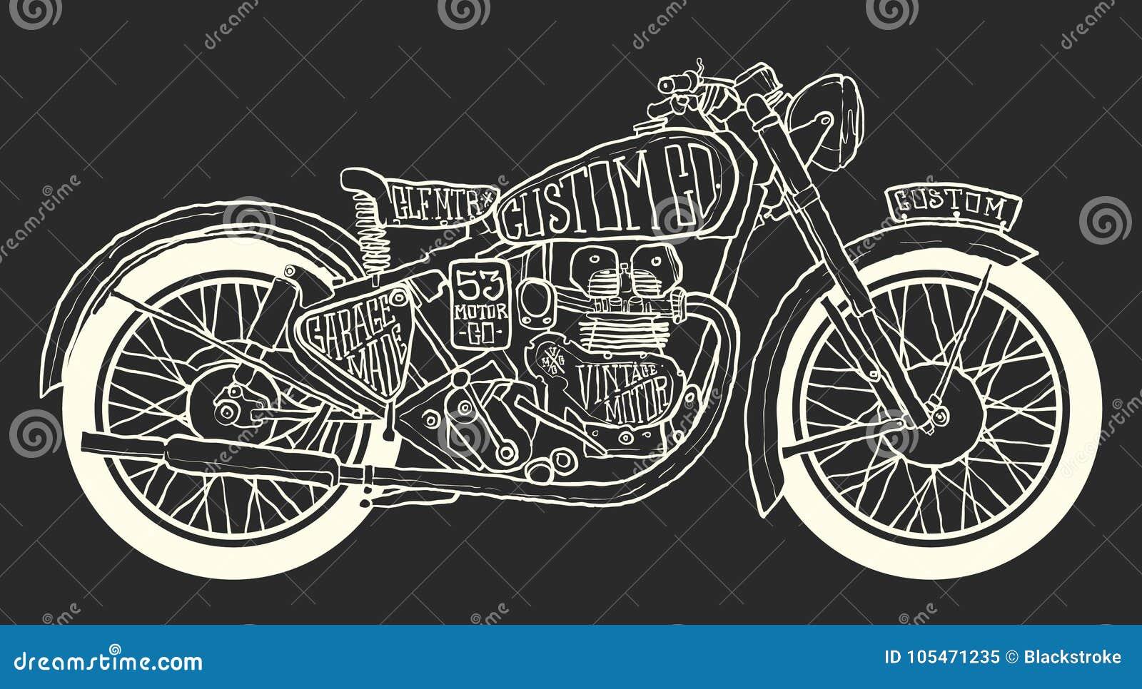 Cafe Racer Drawing Stock Illustration Illustration Of Black 105471235
