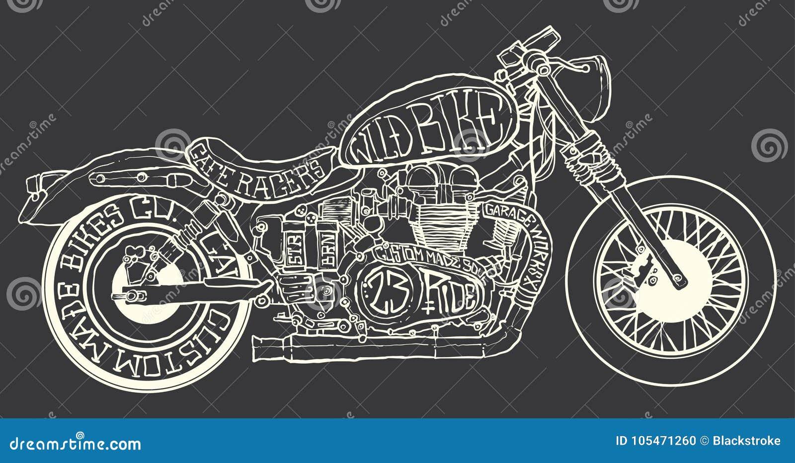 Cafe Racer Drawing Stock Illustration Illustration Of Cafe 105471260