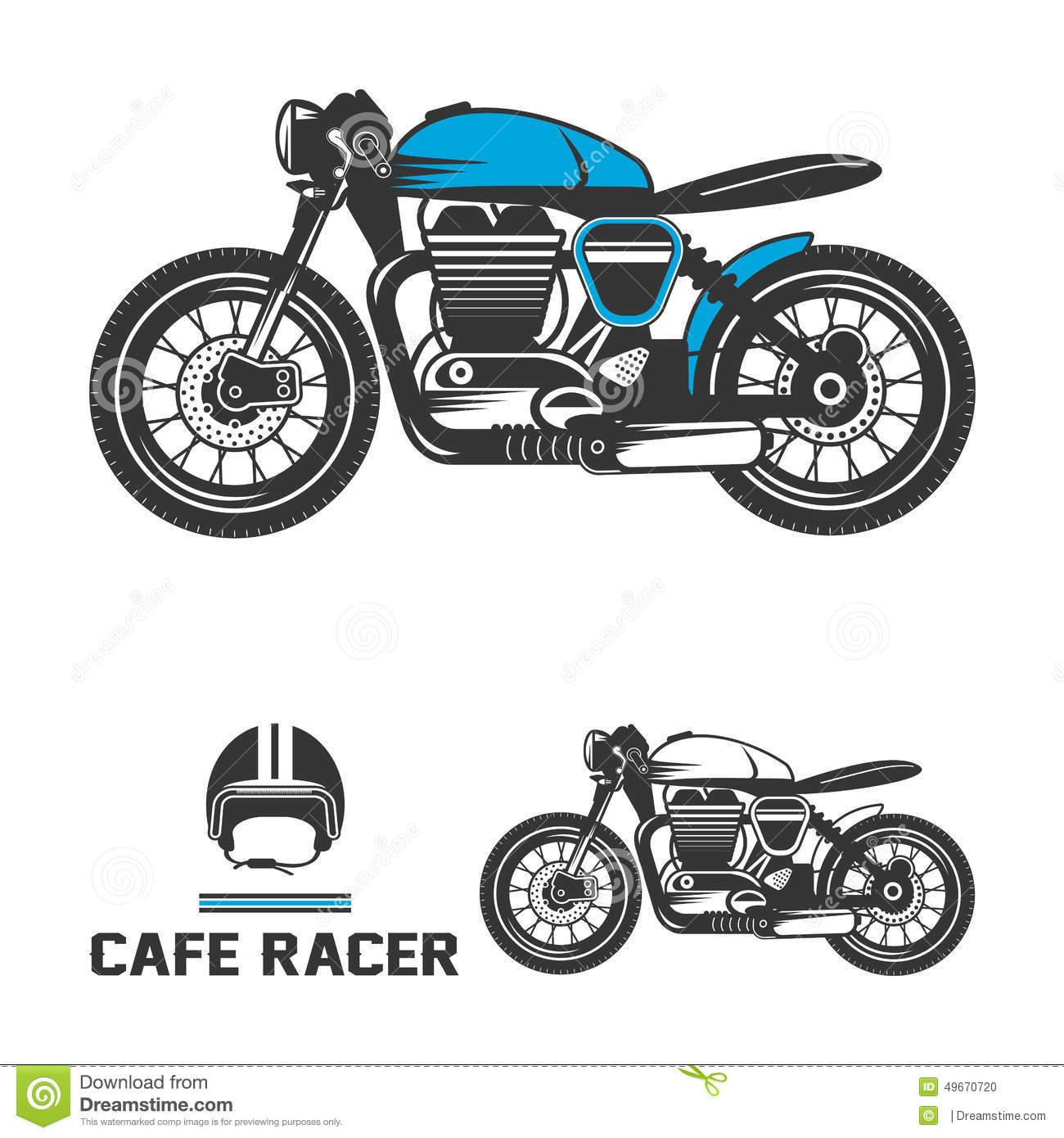 Harley Davidson Prices >> Cafe Racer Motorcycle With Helmet. Stock Vector - Image: 49670720