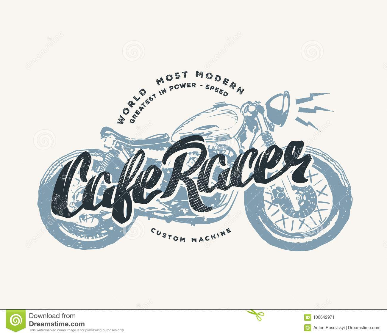Cafe Racer Vintage Motorcycle Hand Drawn T Shirt Print Stock Vector