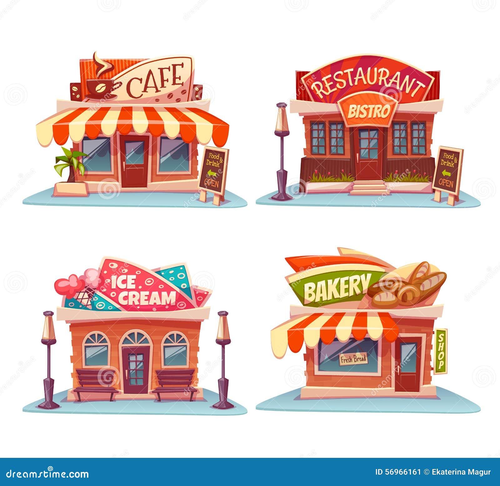 Cafe, Restaurant, Ice-cream Shop And Bakery Cartoon Vector ...