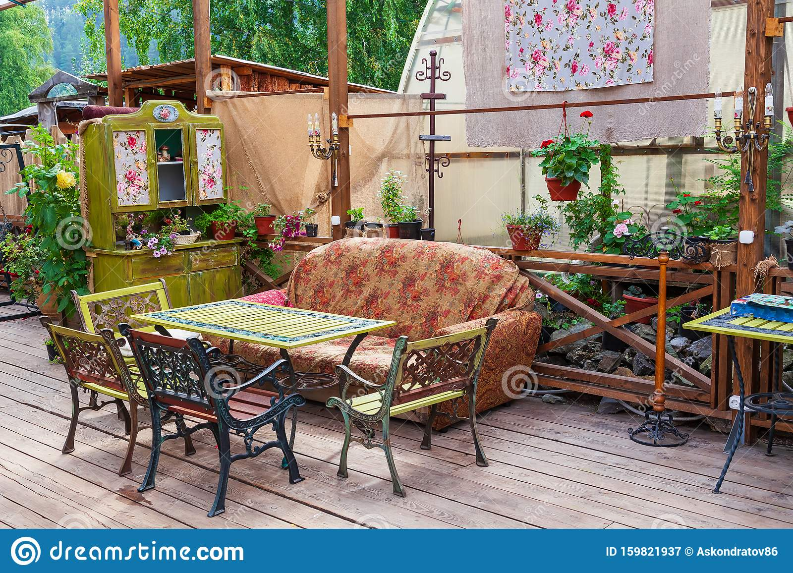 Cafe Or Restaurant Interior In Vintage Style With Colored Old Things Sofa And Chairs In The Open Air Interior Design Stock Image Image Of Dirty Color 159821937