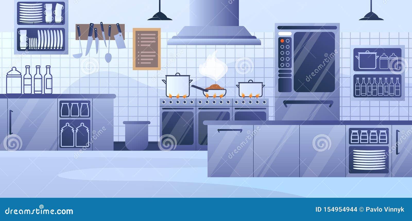 Modern Restaurant Kitchen Interior Flat Vector Stock Vector Illustration Of Metal Dishes 154954944