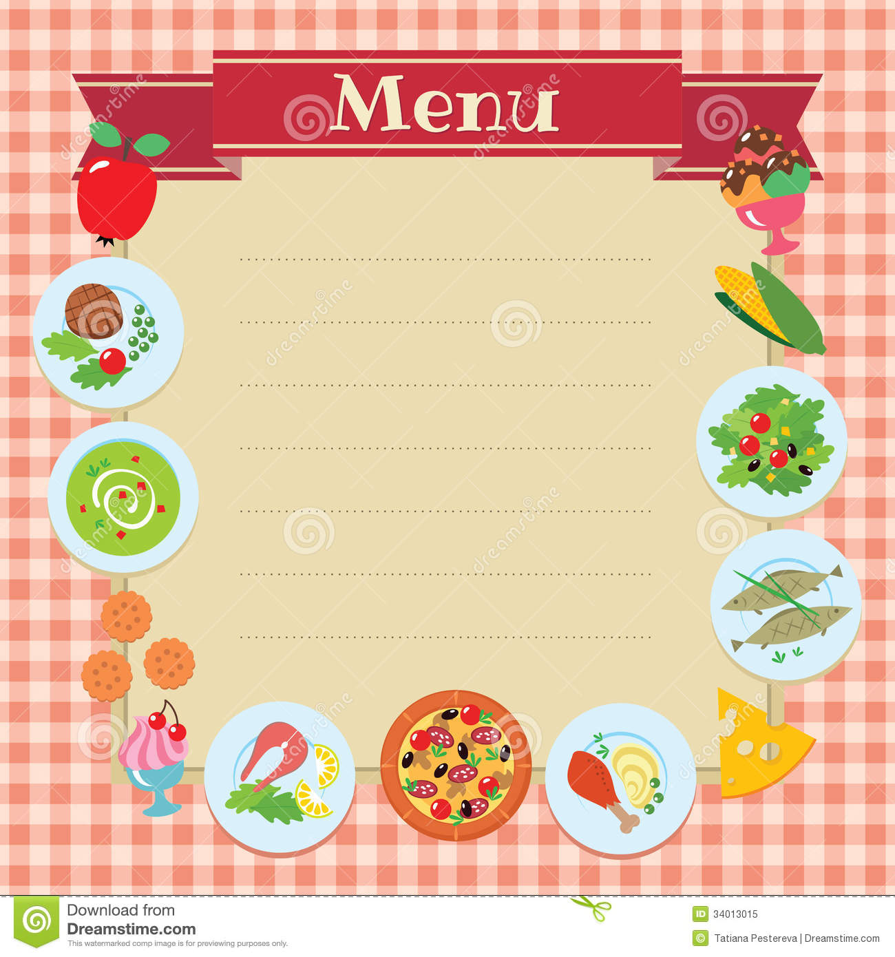 Cafe or restaurant menu template stock vector for Cafe menu design template free download