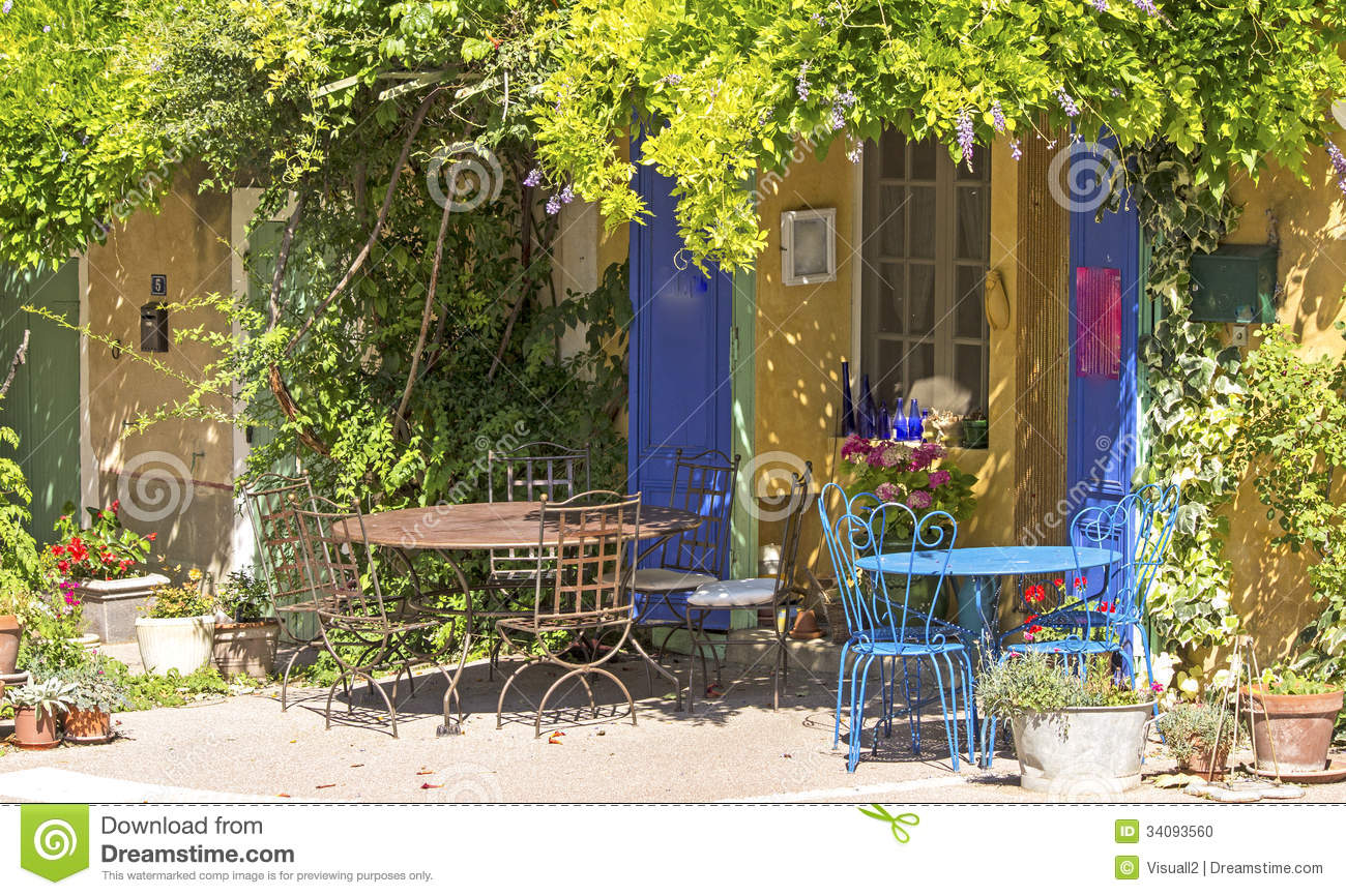 Cafe Shop In French Village Provence Stock Photo Image
