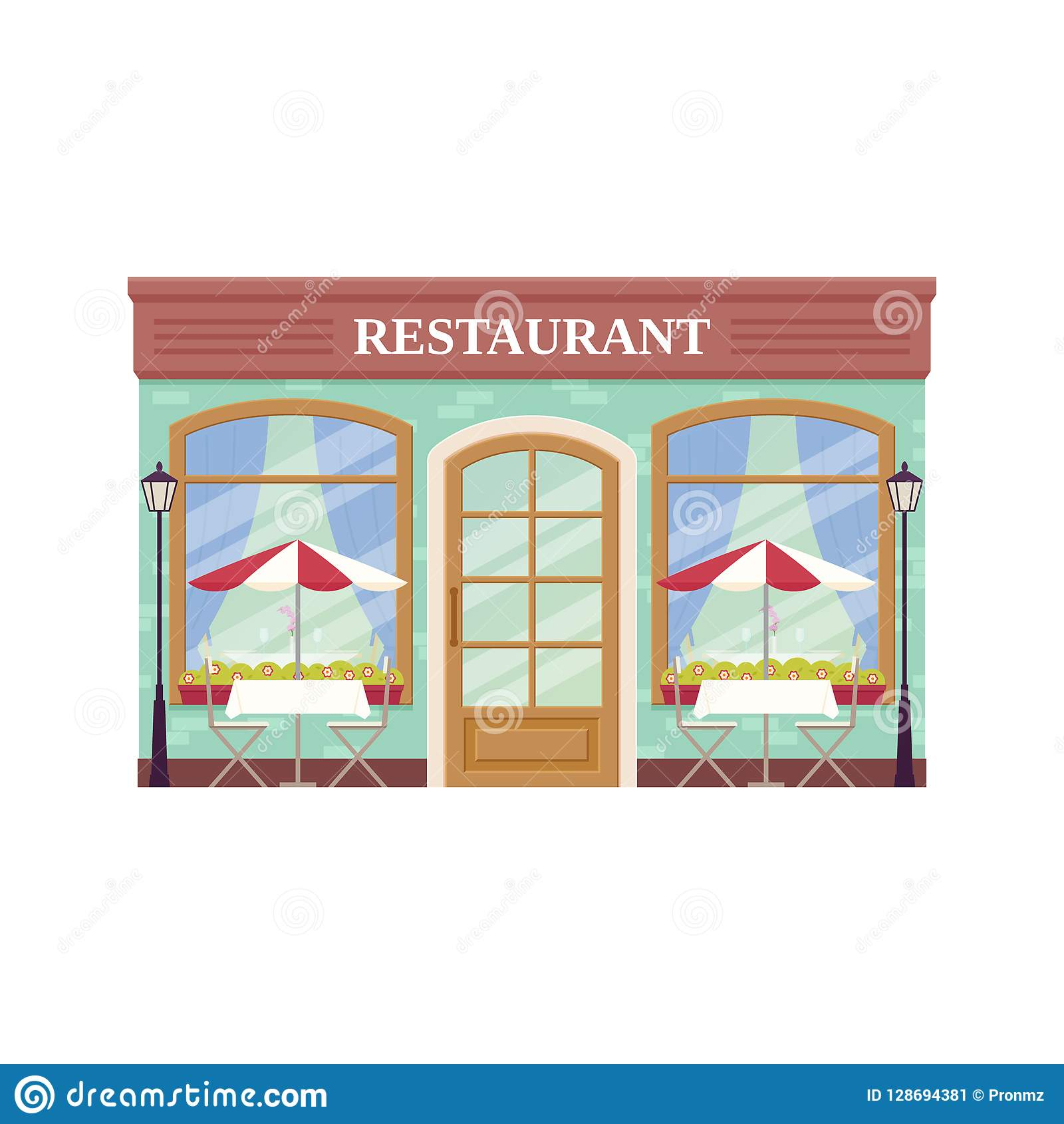 Cafe Shop Storefront Vector Illustration Coffee House Facade Stock Vector Illustration Of Graphic Brick 128694381