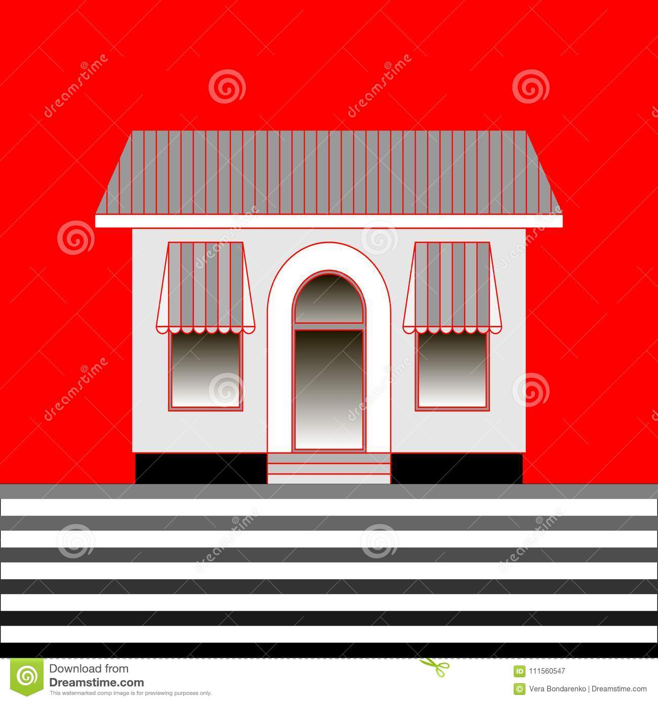Cafe Or Shop With Transparent Windows With Awnings On Red Background