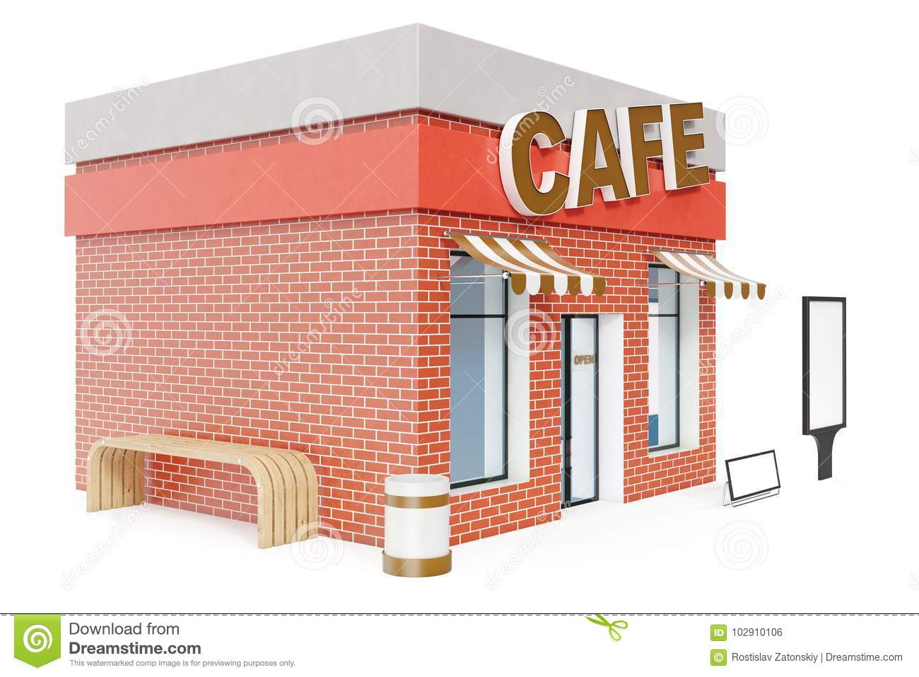 Cafe Store With Copy Space Board Isolated On White Background Modern Shop Buildings Store Facades Exterior Market Stock Illustration Illustration Of Architecture Colorful 102910106