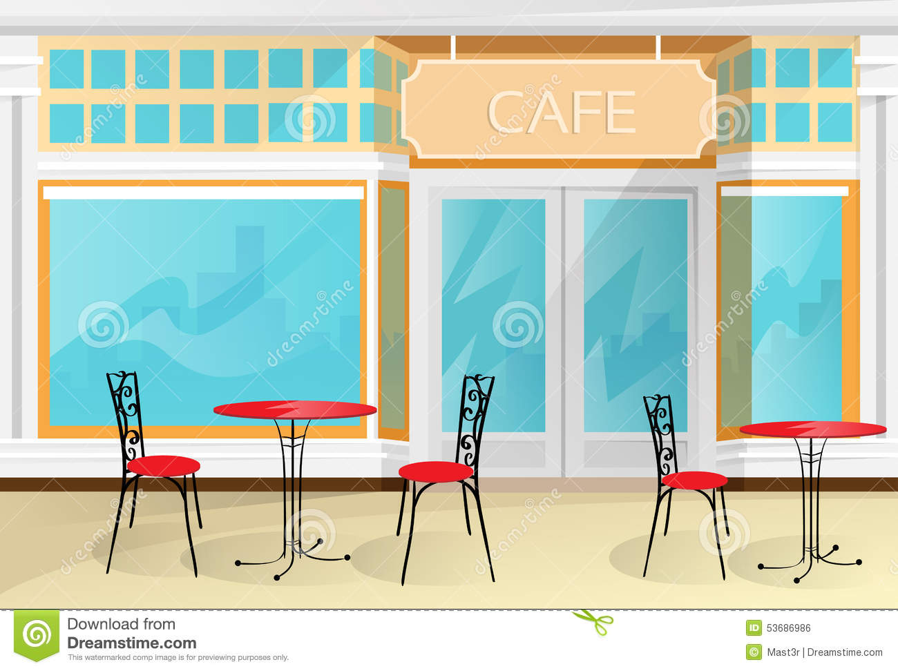 Cafe Street Coffee Shop Chairs Table Vector Stock Vector Image 53686986
