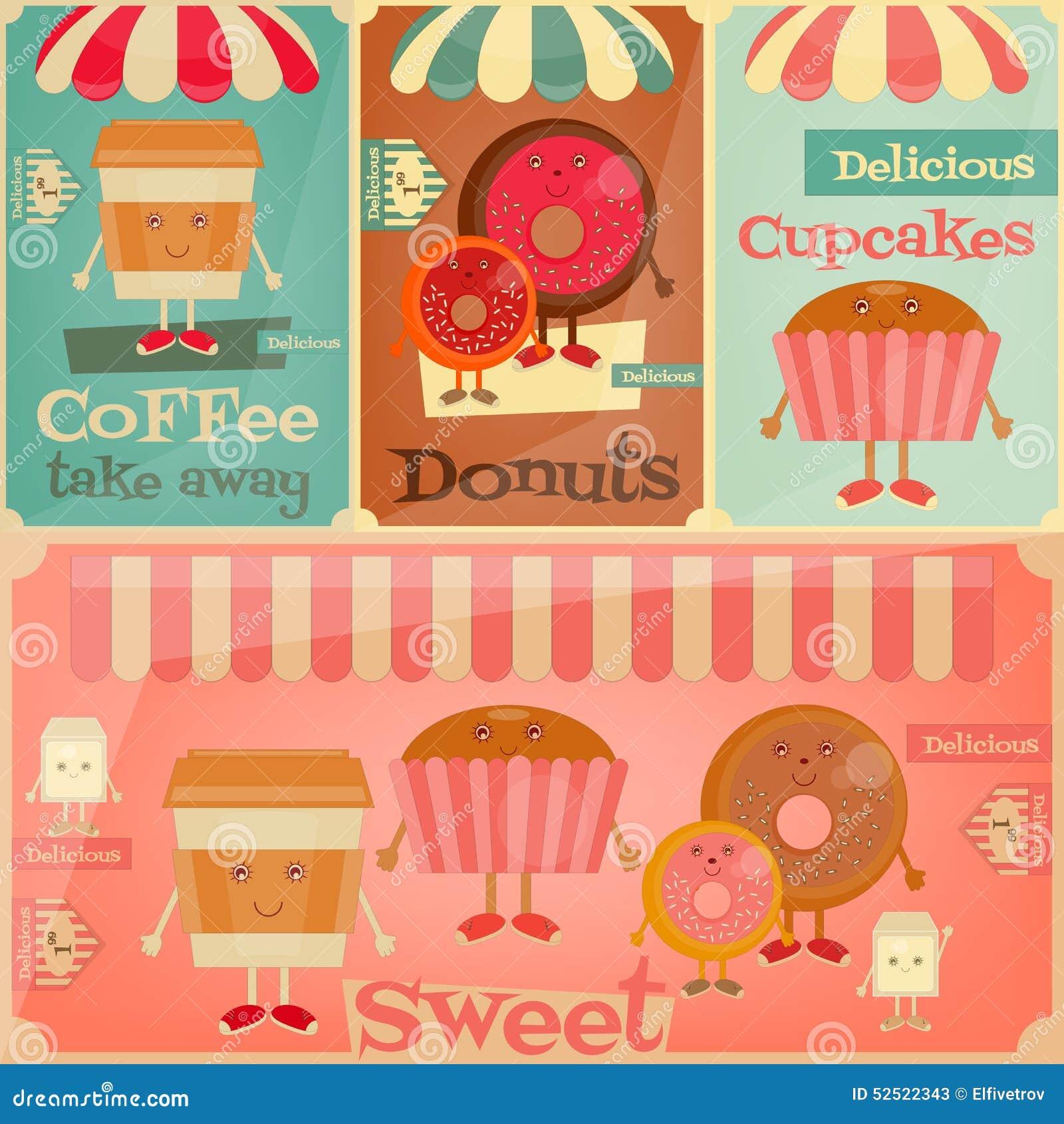 Japanese Coffee Mugs Cafe Sweet Shop Stock Vector Image 52522343