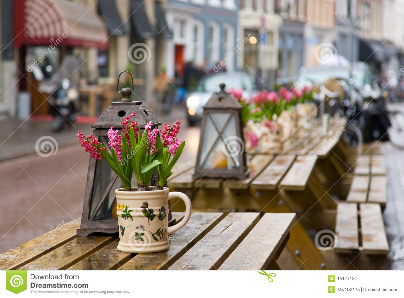 Cafe Table With Flowers. Focus On Flowers Royalty Free ...