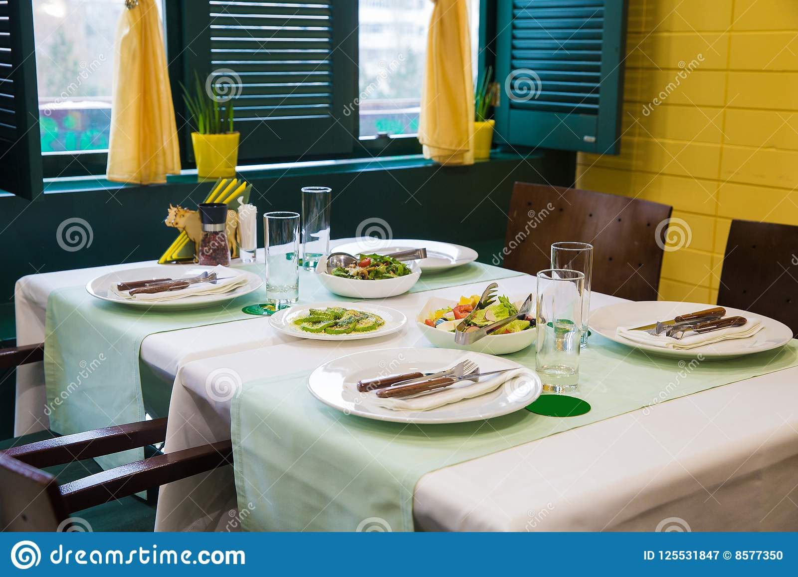 Cafe Table Setting Yellow And Green Color Stock Image Image Of Wedding Served 125531847