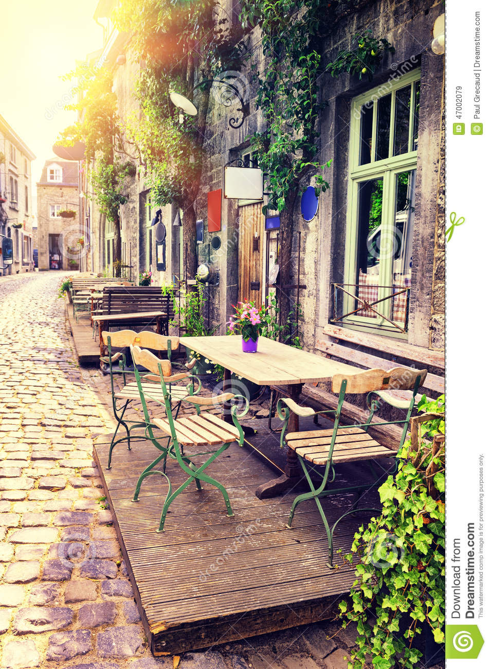 Cafe Terrace In Small European City Stock Photo Image 47002079