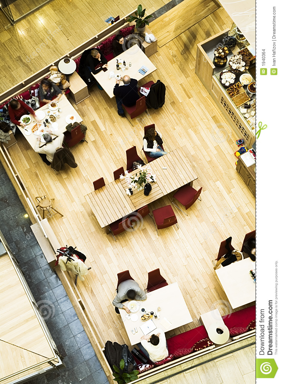 Cafe. top view.