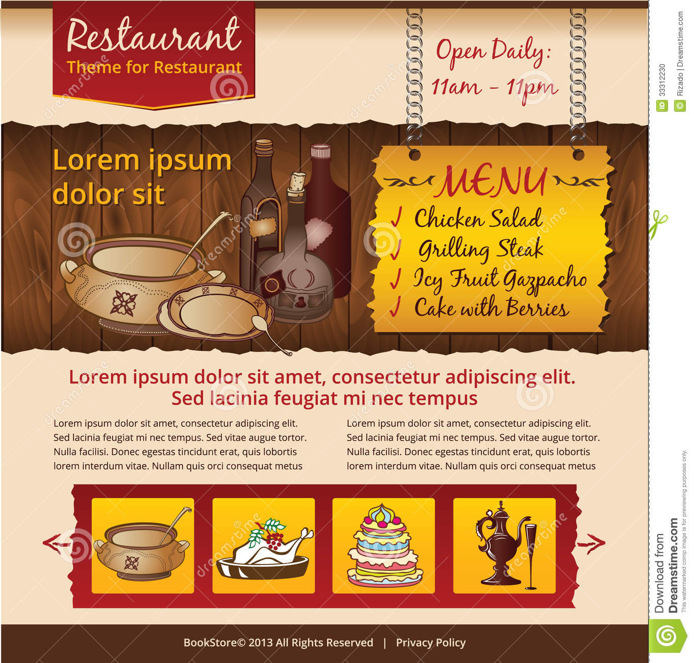 Cafe Website Template Stock Photo - Image: 33312230